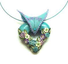 Jewelry necklace pendantPolymer clay handmade hollow by artefyk, $40.00