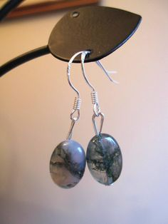 Moss Agate Earrings Oval by SmithNJewels on Etsy, $8.99