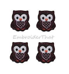 Chocolate felt Owl applique embellishments by EmbroiderThat, $3.95