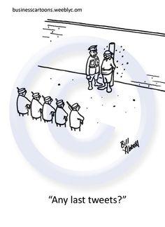 """""""Last Tweets"""" Social Media Powerpoint/Presentation Cartoon - Business Cartoons By Bill Abbott"""