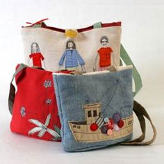 free hand machine embroidered bag
