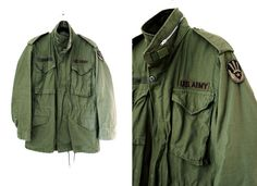 Vintage Mens Green US Army M-65 Field Jacket at CutandChicVintage, $155.00