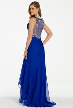 Irridescent Chiffon Dress with Illusion Back from Camille La Vie and Group USA #homecomingdresses #homecoming