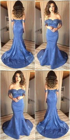 Charming Prom Dress,Appliques Prom Dresses,Long Prom Gown,Mermaid Evening Dress,Blue Prom Dresses M2526