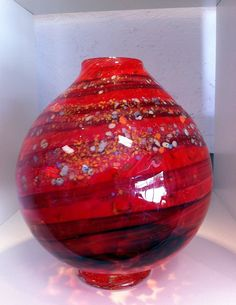 Hand Blown Glass Mars Vase by BStreetGlass on Etsy, $150.00