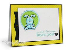 Mama Elephant – Honey Bunny - great baby card, love the banner 'tag' strips down one edge!