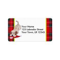 Yellow Labrador Puppy with Santa Hat Christmas Personalized Address Label by Naomi Ochiai