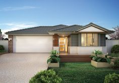 Builders of single and double storey homes, town houses and medium density housing in Victoria, South Australia, New South Wales and Queensland. Facade House, House Facades, Simonds Homes, Storey Homes, Double Garage, Backyard, Patio, First Home, House Colors