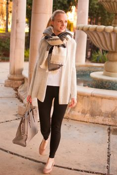 Neiman Marcus cashmere cardigan, white long sleeve shirt, kate spade leggings, Chloe flats, Michael Kors purse, Promod plaid scarf Build A Wardrobe, Capsule Wardrobe, Over 40 Outfits, Fall Vest, Night Time Routine, Flats Outfit, Autumn Winter Fashion, Winter Style