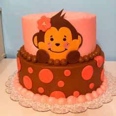 Monkey Baby  Shower Cake it could be blue for a boy too with the monkey wearing a bow tie