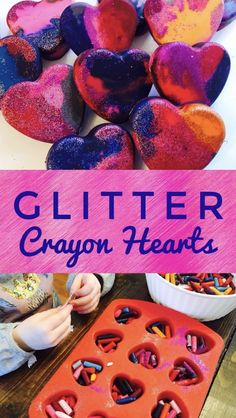 valentinesday school Glitter Crayon Hearts are a great DIY Valentine Craft - I included these in my daughters preschool valentine goodie bags last year. Valentines Goodie Bags, Kinder Valentines, Valentine Crafts For Kids, Valentines Day Party, Valentine Sensory, Valentines For Daughter, Valentine Wreath, Arts And Crafts For Teens, Art And Craft Videos