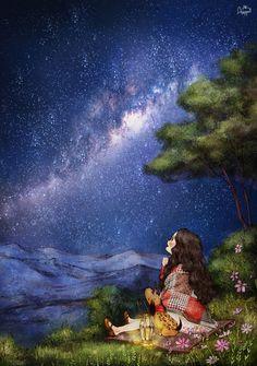 하늘 가득 빛나는 별들은 마치 반짝이는 융단같아서 시간 가는 줄 모르고 하염없이 바라보아요. I forget the time and look endlessly at the stars that blanket the sky, looking like a glittering carpet.