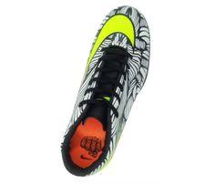 3ab6c7299d Chuteira Society Nike Hypervenom Phelon 2 Neymar Jr Branco e Verde Limão -  Cabedal confeccionado em