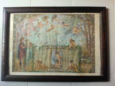 Quadro Stampa dono nuziale del 1920 raffigurante unione al matrimonio.