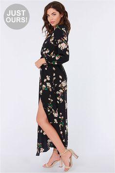 LULUS Exclusive Sweet Peonies Navy Floral Print Maxi Dress at Lulus.com!