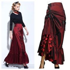 C56-Gorgeous-Red-Layered-Ruffle-Lace-Up-Trumpet-Skirt