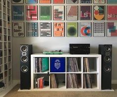 Photo by 😃 Check out our link on our Bio to check out our Awesome Vinyl Tees, Hoodies, Baseball Caps,… Home Music Rooms, Music Studio Room, Turntable Setup, Stereo Turntable, Vinyl Record Storage, Vinyl Record Display, Lp Storage, Storage Ideas, Vinyl Room