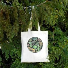Succulent Tote Bag Cactus Cacti Organic Cotton by naturesmyfriend