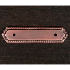 This distressed copper finish cabinet pull backplate with rope edge design from RK International is perfect for combining with cabinet pulls for an additional decor touch to your cabinets.
