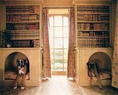 I need to find a way to do this, finally something cute for big dogs :) Decorating with Books... and pets.