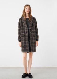 Клетчатое пальто с шерстью