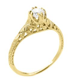 Art Deco Filigree Flowers and Wheat 1/3 Carat Engraved Engagement Ring Setting in 18 Karat Yellow Gold $635.00