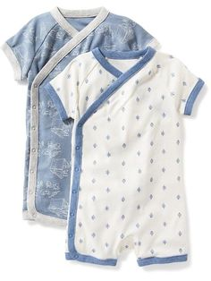 Printed Wrap-Front One-Piece 2-Pack for Baby