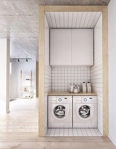 Comment rafraîchir votre salle de lavage en un week-end : un bloc de boucher dans la buanderie.