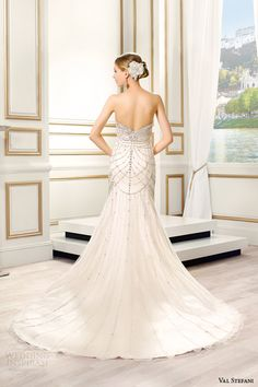 val stefani bridal spring 2015 style d8088 lumina strapless sweetheart fit flare swarovski crystal bodice back view train