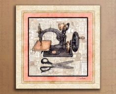 """Sewing Machine Vintage Art Print Dan Morris """"Sew Vintage 1"""". Sewing room art, vintage sewing machines, quilt art, gift for quilter,mom gift"""