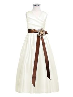 81764ae4001 I like this dress in the white satin with the chocolate sash  ) Flower Girl  Dress