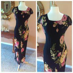 Lovely Black Floral Dress Size M/L by by GenesisVintageShop