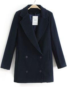 Navy Lapel Long Sleeve Double Breasted Coat US$43.69