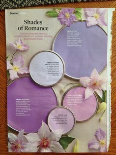 Better Homes and Gardens shades of romance paint palette. #orchid #purple #lavender I love water lily!