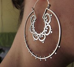 Sterling silver double ornate tribal hoop earrings