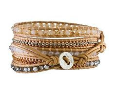 Chan Luu | Pyrite, Moonstone and Seed Bead Wrap Bracelet in Bracelets Chains at TWISTonline