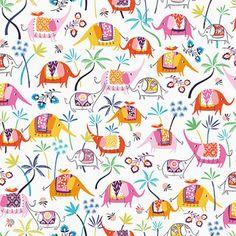 print & pattern Dressmaking Fabric, Cute Elephant, Silk Road, Moroccan Decor, Kids Prints, Cotton Quilts, Fabric Online, Kids Playing, Pattern Design