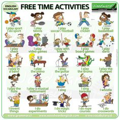 Free Time Activities in English - Woodward English English Primary School, Teach English To Kids, Teaching English, Learn English, English Test, English Activities, Time Activities, Teaching Activities, Teaching Kids