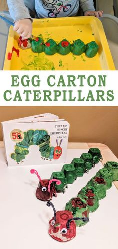 "Egg Carton Caterpillars - Raising Hooks a great craft for toddlers Preschoolers. Makes a great addition to ""A very hungry caterpillar"" story activiies # garden activities for toddlers Toddler Art, Toddler Preschool, Toddler Crafts, Preschool Crafts, Toddler Activities, Crafts For Kids, Bug Crafts, Sequencing Activities, Egg Carton Caterpillar"