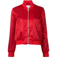 Carven zipped bomber jacket (16,450 MXN) ❤ liked on Polyvore featuring outerwear, jackets, red, red bomber jacket, zipper jacket, zip jacket, flight jacket and red jacket