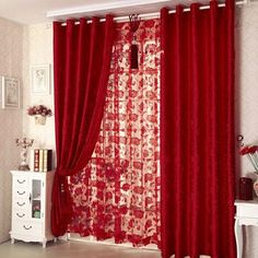 Ideas to give a quick makeover to your room by jazzing up old curtains. Here are some, Simple and affordable ideas/DIYs to jazz up boring old curtains. Net Curtains, Cheap Curtains, Curtains For Sale, Red And Black Curtains, Brown Sofa Decor, Ultra Modern Homes, Custom Made Curtains, Flower Curtain, Living Room Redo