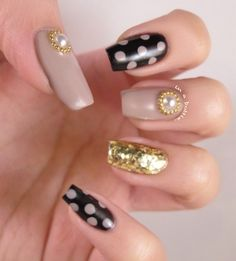 pearls, gold, black, nude, and polka dot nail art......