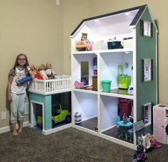 New Doll House Storage Toy Boxes Ideas American Doll House, American Girl Doll Room, American Girl Furniture, Girls Furniture, American Girl Crafts, American Girl Dollhouse, American Girl Storage, Doll House Plans, Barbie Doll House