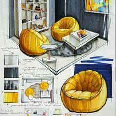 dessin intérieur The photo Your Guide To Peg Perego High Chairs Article Body: The usual cost for a P Interior Architecture Drawing, Interior Design Renderings, Architecture Concept Drawings, Drawing Interior, Interior Rendering, Interior Sketch, Interior Shop, Nordic Interior, Studio Interior