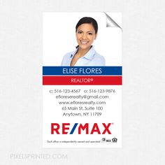 REMAX business card sticker, REMAX real estate business card sticker, business card sticker, real estate business card sticker