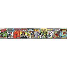 Disney Kids III Marvel Comic Book Covers Border, Reds