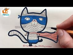 Superhero kitten drawing for kids - Cat Drawing - Learn to draw step by step - Foxo Drawing Kitten Drawing, Drawing For Kids, Learn To Draw, Snoopy, Superhero, Learning, Drawings, Cats, Youtube