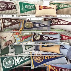 Pennant Pillows from Fabric Scout Studio Henry Ford Museum, Moving Home, Custom Furniture, Fleas, Fall Decor, Sewing Projects, Craft Projects, New Homes, Retro