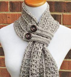 CROCHET SCARF PATTERN Crochet Cowl Button Scarf by AlyseCrochet