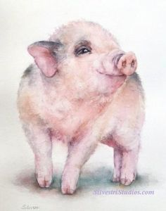 This pig watercolor farm animal painting is by animal artist Teresa Silvestri.   Available as  a cute art print and greeting cards. Perfect for the pig art nursery and farmhouse decor!  To view more animal art by Teresa Silvestri, visit www.SilvestriStudios.com  (Photo reference thanks to Wildlife Reference Photos) Watercolor Animals, Watercolor Art, Farm Animal Nursery, Cartoon Chicken, Pig Crafts, Pig Art, Farm Art, Rabbit Art, Animal Paintings